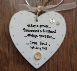 Shabby personalised Gift Chic Heart Plaque Mother Of The Groom Wedding Present